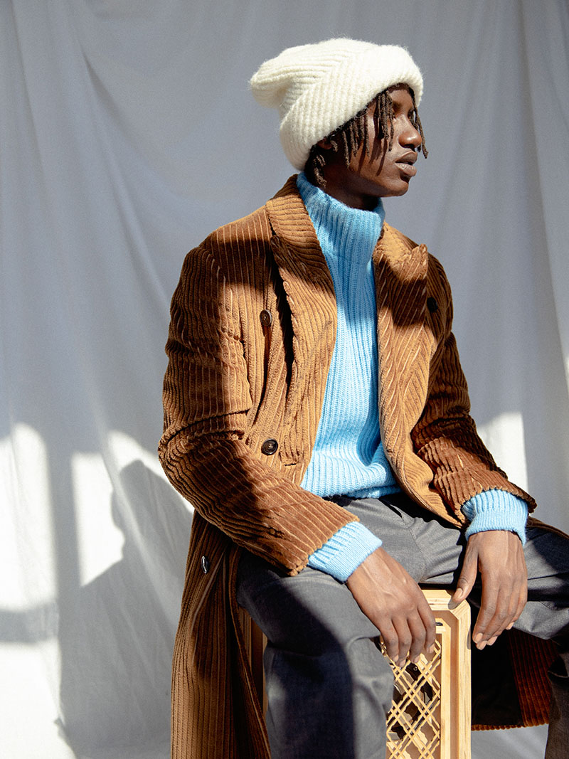Nightingale-drykorn_fall_winter_2020_white_hat_brown_coat_menswear